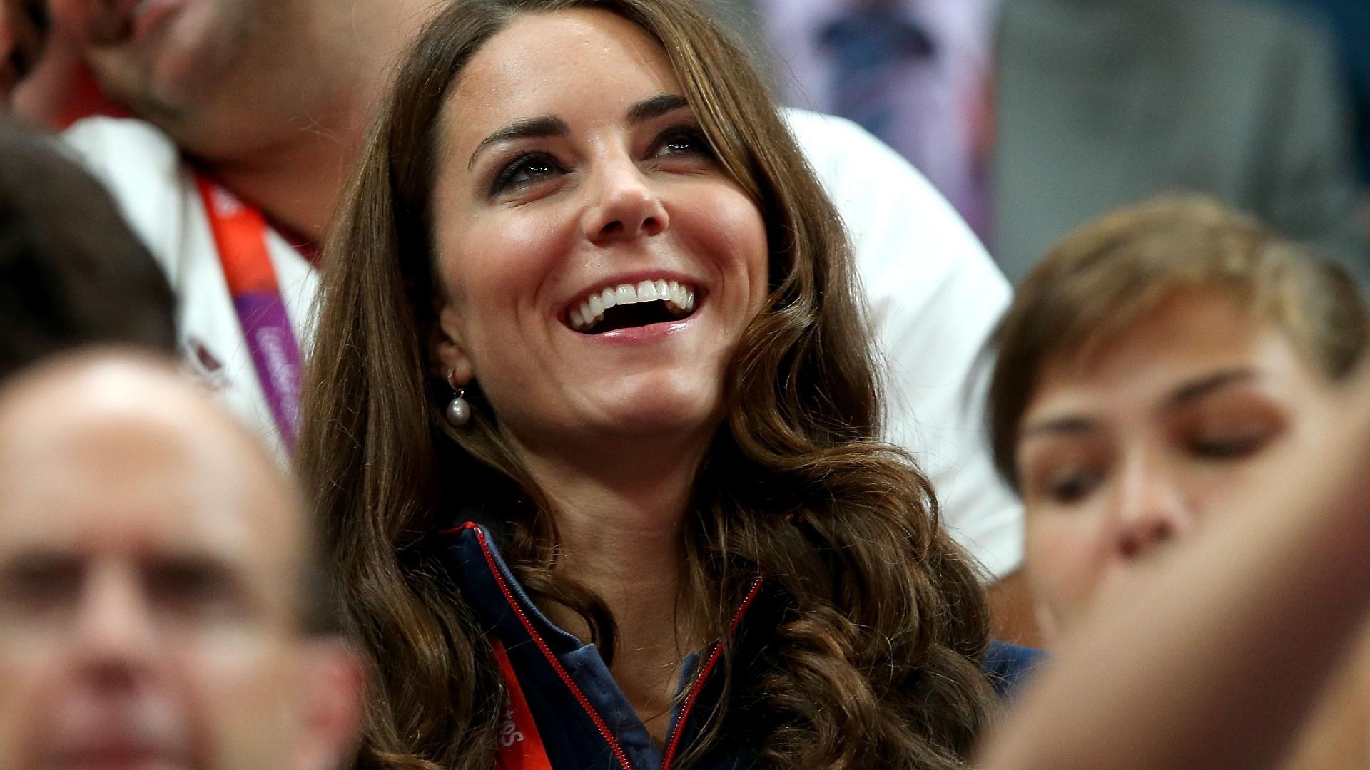 Kate Middleton, a duquesa de Cambridge, assiste ao primeiro dia de finais por aparelhos da ginástica artística na Arena Greenwich, em Londres