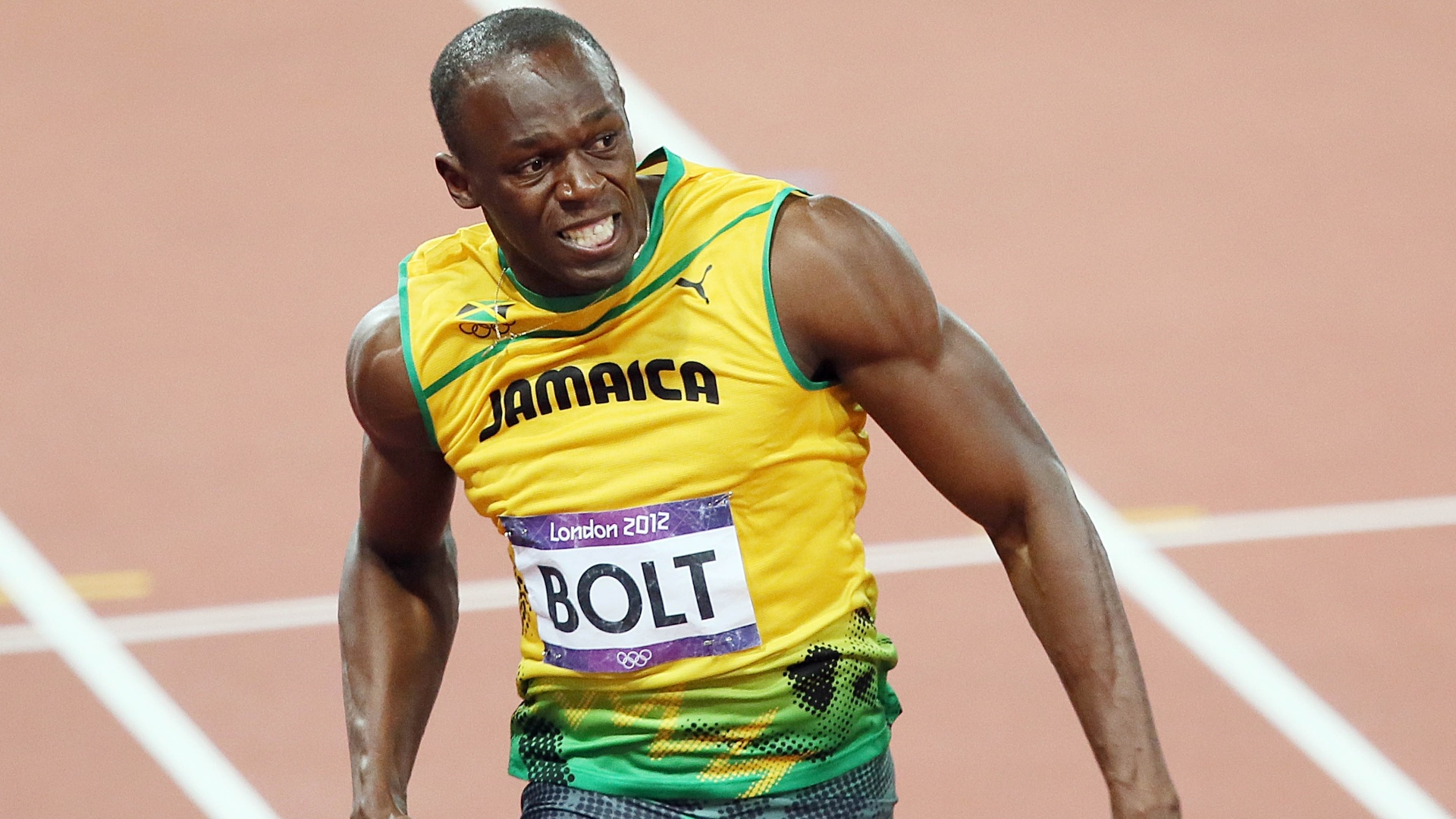 Usain Bolt corre durante final olmpica dos 100 m rasos