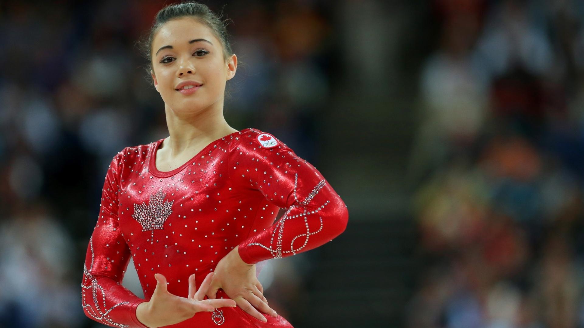 Victoria Moors, canadense da ginástica artística, também combinou o vermelho brilhante com a folha da bandeira