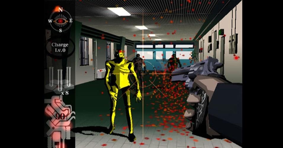 """Conhecido por jogos excêntricos, Suda51 concebeu """"Killer7"""", um shooter com visual marcante e muita violência"""