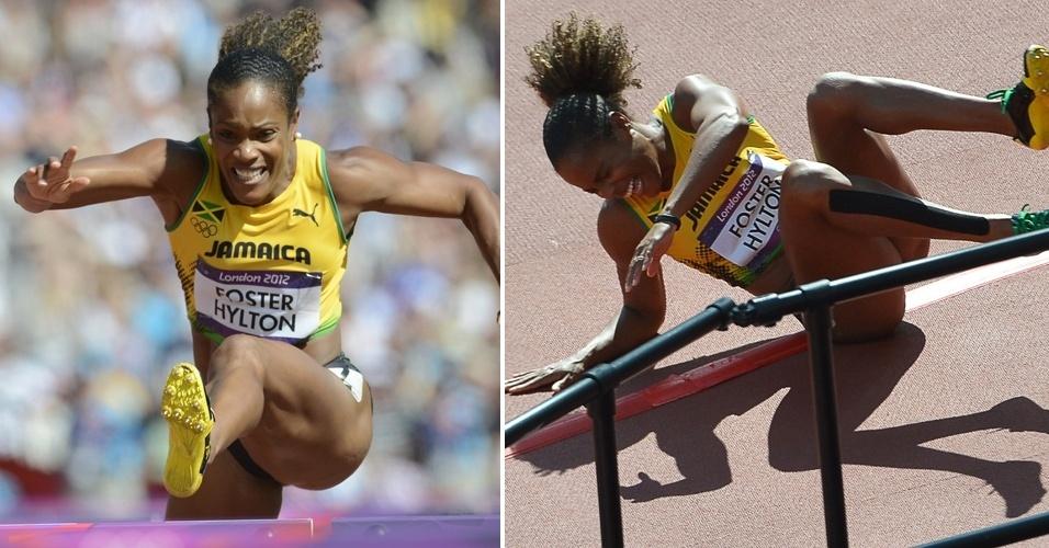 Depois de bater no sexto obstáculo dos 100 m com barreira, a ex-campeã mundial Brigitte Foster-Hylton, da Jamaica, se desesperou com a eliminação prematura na prova