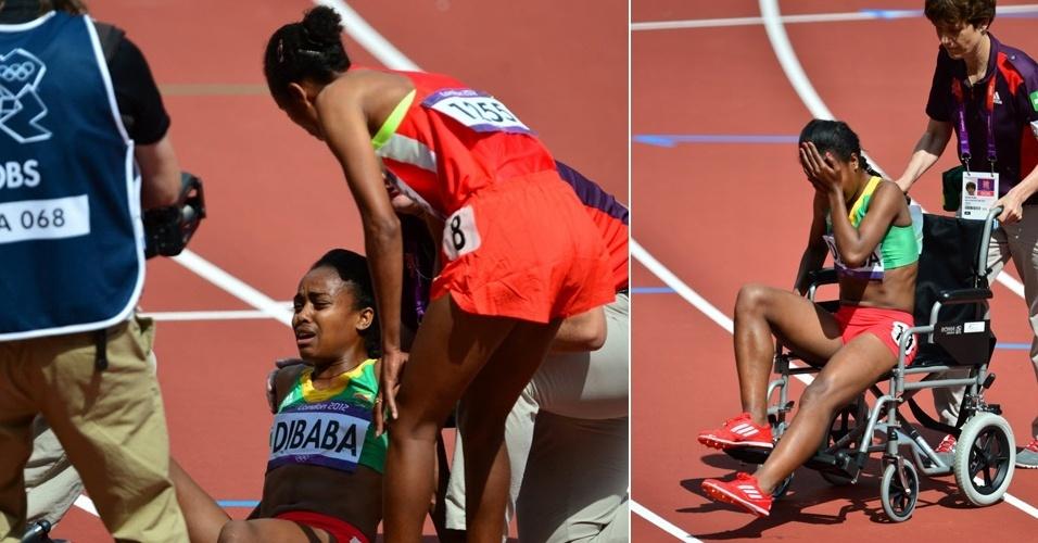 Etíope Genzebe Dibaba sente lesão muscular durante eliminatória dos 1.500 m, e sai chorando da pista de Londres em cadeira de rodas