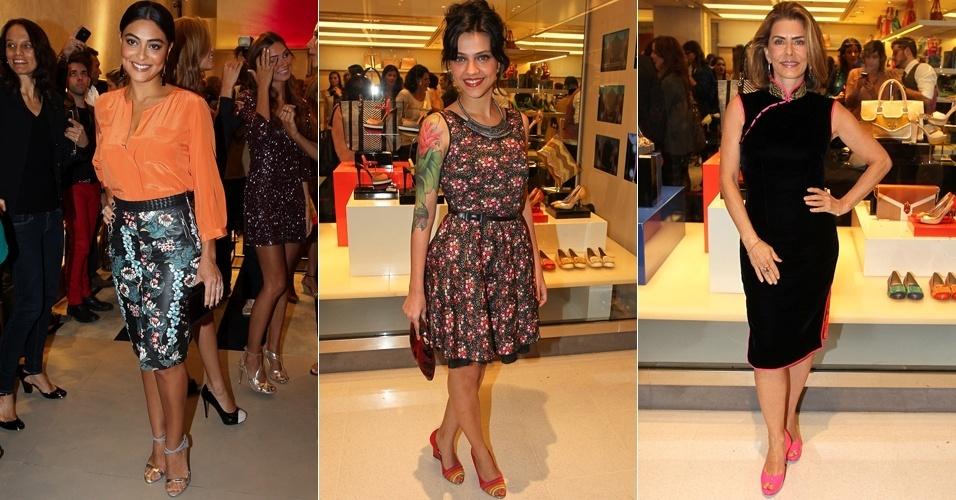 Nesta segunda-feira (6), as atrizes Juliana Paes, Letícia Persiles e Maitê Proença estiveram em um shopping na Zona Sul de São Paulo para lançamento da coleção de uma marca de sapatos