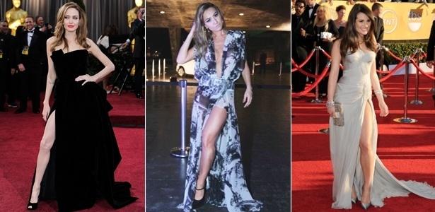Angelina Jolie, Sabrina Sato e Lea Michelle exibem pernas torneadas através da fenda do vestido