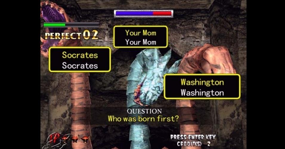 """""""Typing of the Dead"""" traz o tradicional tiroteio contra zumbis da Sega - porém, no lugar de uma pistola, você usa um teclado e deve digitar palavras"""