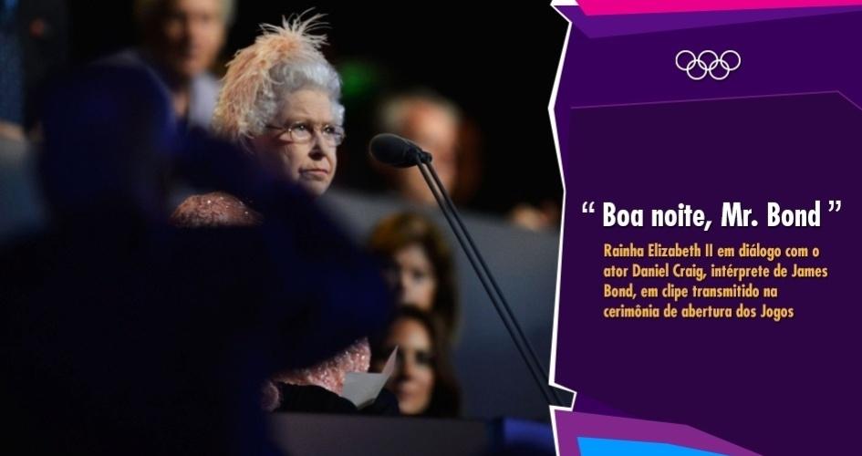"""""""Boa noite, Mr. Bond"""" - Rainha Elizabeth II em diálogo com o ator Daniel Craig, intérprete de James Bond, em clipe transmitido na cerimônia de abertura dos Jogos"""