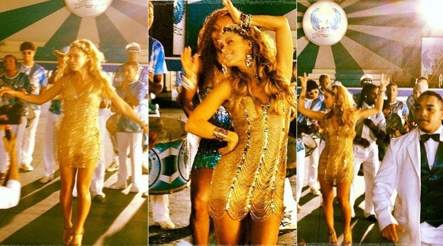 Carolina Dieckmann gravou comercial cercada por ritmistas da escola de samba carioca Portela (9/8/12)