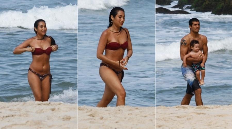 Daniele Suzuki curtiu praia na zona oeste do Rio (9/8/12)