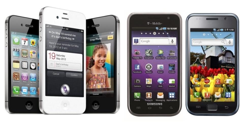 Imagem cedida pelo tribunal de Frankfurt mostra vários ângulos do iPhone 4S (esquerda) e os aparelhos Galaxy S 4G e Galaxy S (direita). Apple acusa Samsung de violar patentes