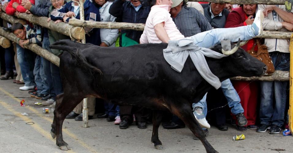 5.ago.2012 - Touro acerta participante da corrida de São Firmino, em Ubate, na Colômbia