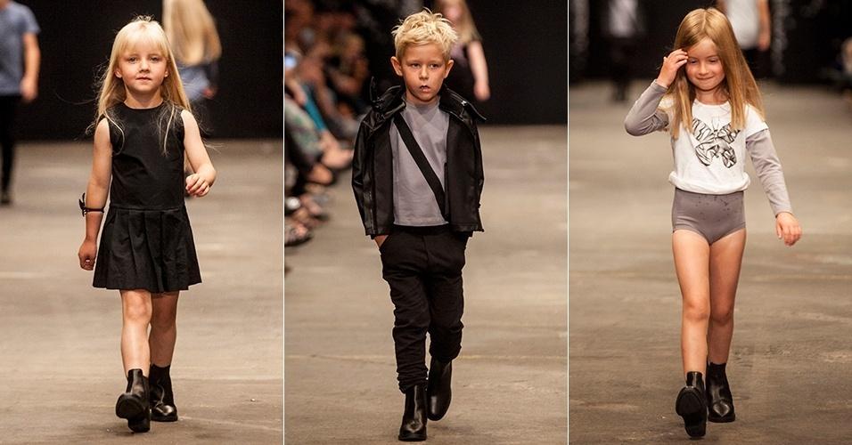 Crianças desfilam para a New Generals na semana de moda de Copenhague (10/08/2012)
