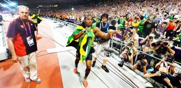 Foto tirada por Usain Bolt após final dos 200m rasos nos Jogos Olímpicos de Londres