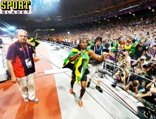 Foto tirada por Usain Bolt aps final dos 200m rasos nos Jogos Olmpicos de Londres