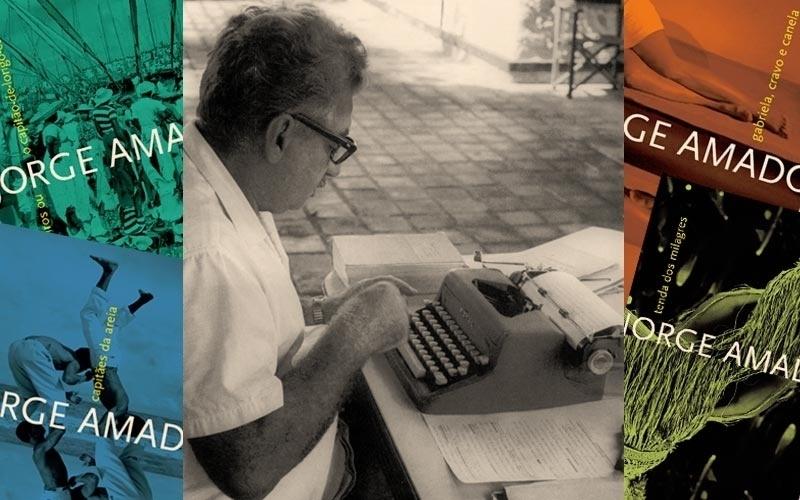Jorge Amado (em foto da década de 1950) passou a infância em Ilhéus e a adolescência em Salvador, duas cidades que se destacaram como cenário de suas obras. Mas boa parte da vida do escritor aconteceu no estrangeiro, pois Amado precisou se exilar na Argentina, no Uruguai, na França e na Tchecoslováquia, devido à sua militância no Partido Comunista Brasileiro. Num período de legalidade, em 1945, o escritor elegeu-se deputado federal pelo PCB e participou da Assembléia Nacional Constituinte.
