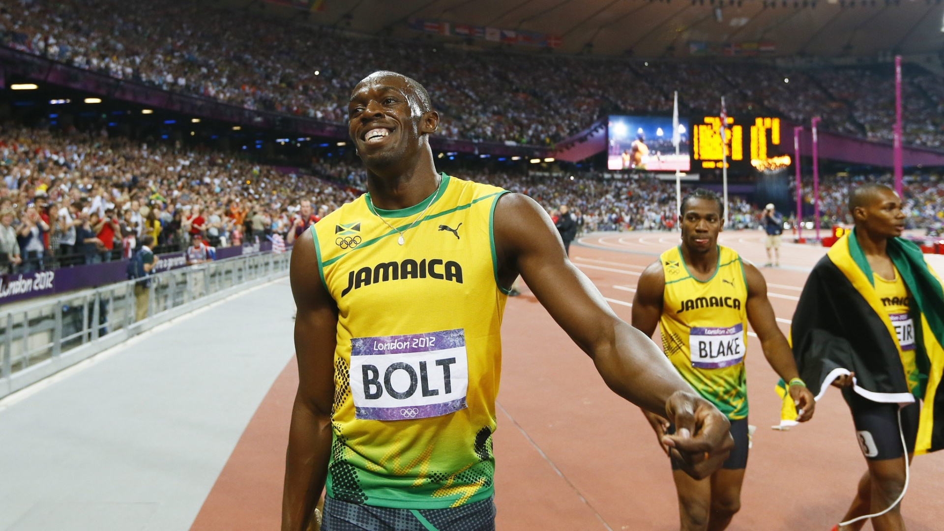 Usain Bolt, Yohan Blake e Warren Weir ficam com as trs primeiras posies nos 100 m rasos