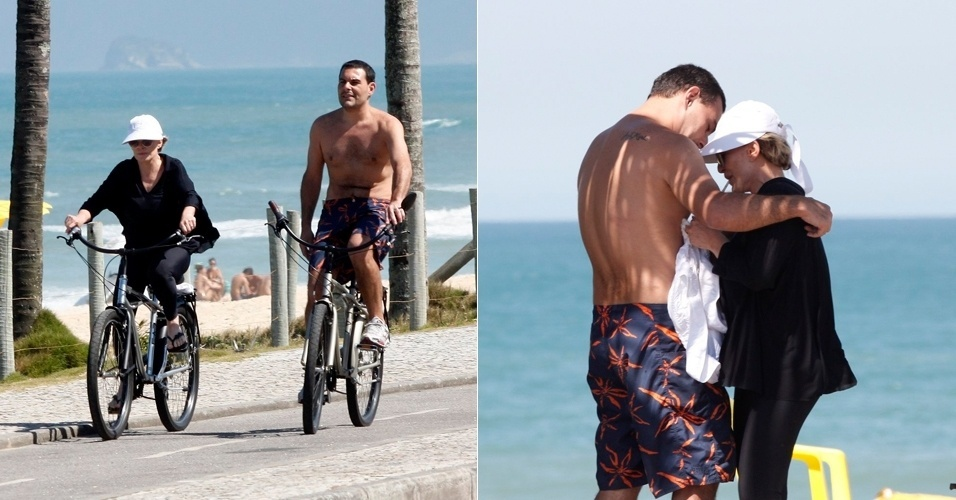 Ana Maria Braga anda de bicicleta com o marido, Marcelo Frisoni, em praia da Barra da Tijuca, no Rio de Janeiro. O empres&#225;rio teve a pris&#227;o decretada esta semana a pedido da ex-mulher, Patr&#237;cia Palma, que cobra pens&#245;es aliment&#237;cias que estariam atrasadas (11/8/12)