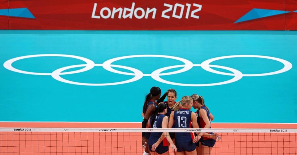 Jogadoras dos Estados Unidos comemoram ponto marcado sobre o Brasil na final do vôlei feminino