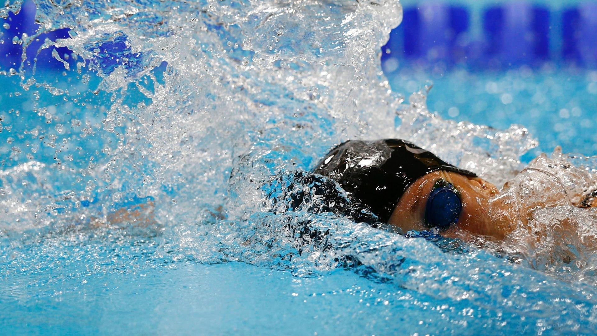 Brasileira Yane Marques disputa prova dos 200m livre, parte do pentatlo moderno