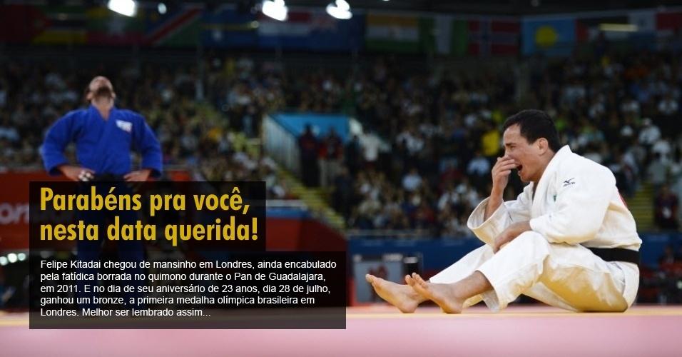 Felipe Kitadai chegou de mansinho em Londres, ainda encabulado pela fatídica borrada no quimono durante o Pan de Guadalajara, em 2011. E no dia de seu aniversário de 23 anos, dia 28 de julho, ganhou um bronze, a primeira medalha olímpica brasileira em Londres. Melhor ser lembrado assim...