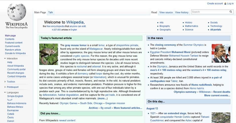 6º Wikipedia: A ''enciclopédia digital'' possui 11,57% das visitas de internautas no mundo. Em média, indica a Alexa, os internautas gastam quatro minutos navegando na Wikipedia