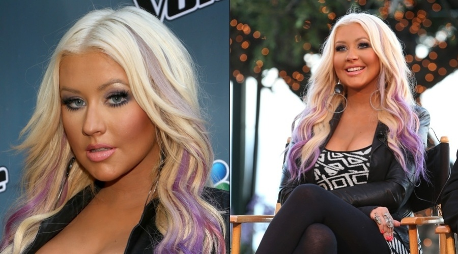 Christina Aguilera fez mechas roxas nos cabelos (12/8/12)