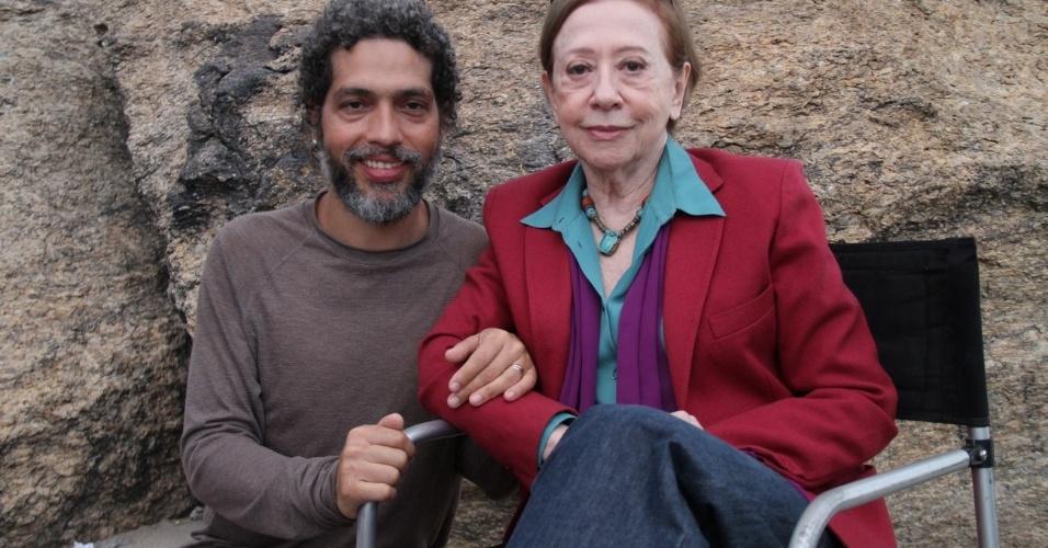 Fernanda Montenegro e Estevão Ciavatta na gravação do clipe