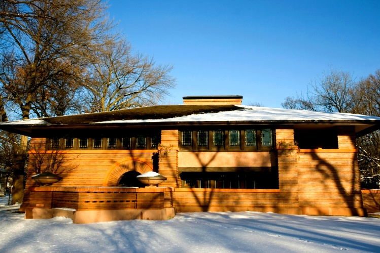 Casa projetada pelo arquiteto modernista norte-americano Frank Lloyd Wright (1867-1959), considerada exemplar do estilo pradaria