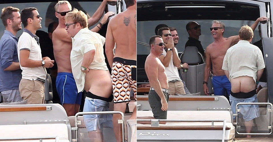 Elton John deixa bumbum &#224; mostra durante passeio de iate (12/8/12)