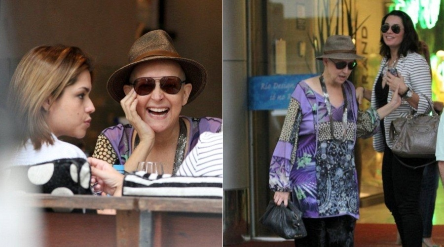 Em tratamento contra um câncer, Betty Lago almoçou com as atrizes Thaís Fersoza e Amandha Lee em um restaurante na zona sul do Rio (14/8/12)