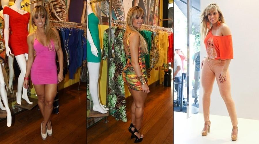 Juju Salimeni participou do lançamento de uma coleção de roupas femininas em uma loja localizada no Bom Retiro, centro de São Paulo (14/8/12)