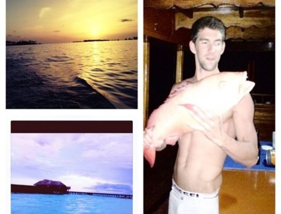 Michael Phelps exibe no Twitter foto com peixe que pescou na praia, durante a sua aposentadoria (14/08/2012)