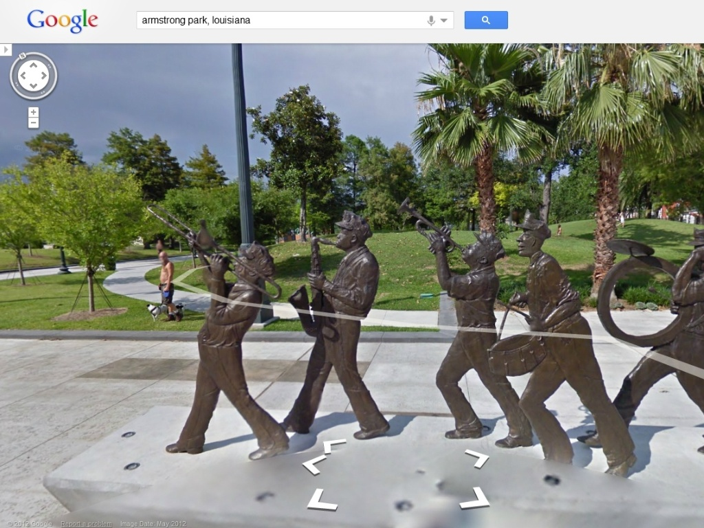 16.ago.2012 - O servio Google Street View atualizou nesta quinta-feira (16/8) as imagens da cidade de Nova Orleans (Louisiana), nos Estados Unidos. A cidade foi atingida em 2005 pelo furaco Katrina, que deixou centenas de vtimas e devastou quase toda a cidade. Na imagem, o parque Louis Armstrong, feito em homenagem ao msico de mesmo nome, que nasceu na cidade