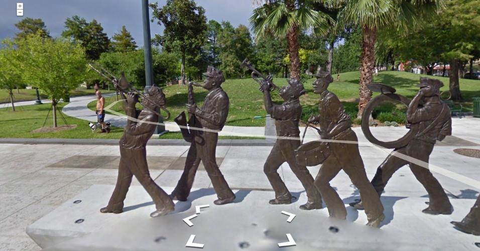 16.ago.2012 - O serviço Google Street View atualizou nesta quinta-feira (16/8) as imagens da cidade de Nova Orleans (Louisiana), nos Estados Unidos. A cidade foi atingida em 2005 pelo furacão Katrina, que deixou centenas de vítimas e devastou quase toda a cidade. Na imagem, o parque Louis Armstrong, feito em homenagem ao músico de mesmo nome, que nasceu na cidade