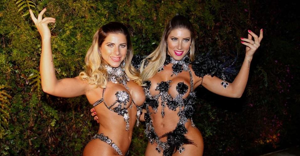 As irmãs Ana Paula e Tati Minerato participaram da gravação de um clipe promocional do time de futebol Corinthians, em São Paulo (16/8/12). A promoção levará torcedores para uma viagem ao Japão
