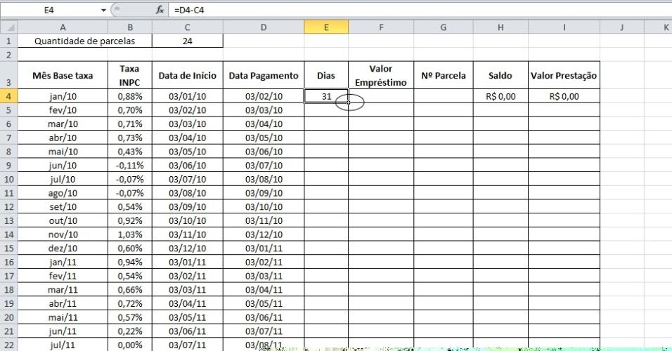 Excel calcula valor de empréstimo corrigido pelo Índice Nacional de Preços ao Consumidor