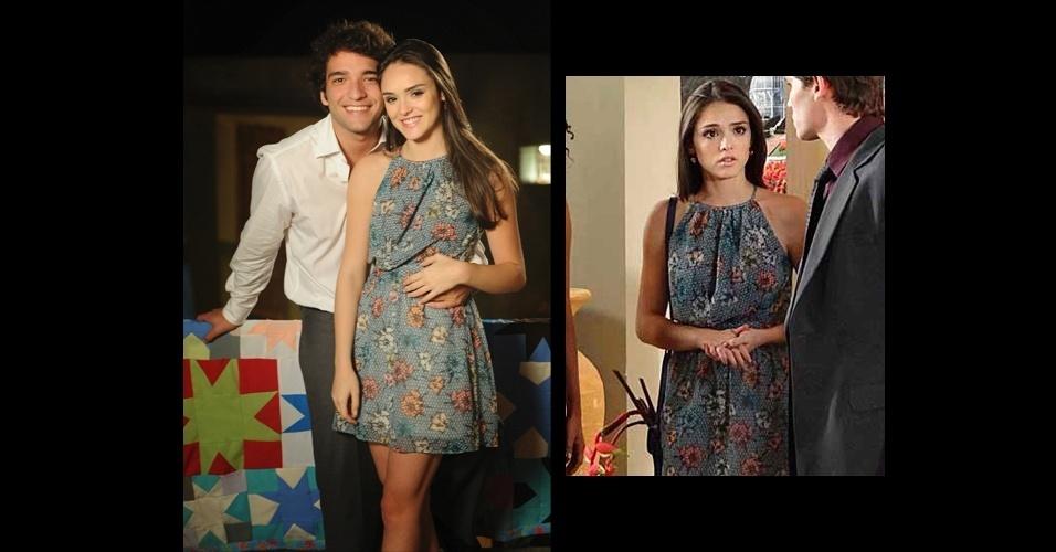 """O vestido azul com estampa floral usado por Cida (Isabelle Drummond), na novela """"Cheias de Charme"""" ficou em segundo lugar na lista de produtos mais pedidos pelos telespectadores da Globo e é da marca Checklist"""