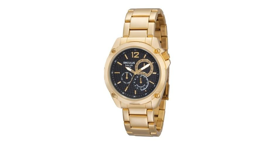 Relógio dourado com fundo preto; R$ 318, na Seculus (www.seculus.com.br). Preço pesquisado em agosto de 2012 e sujeito a alterações