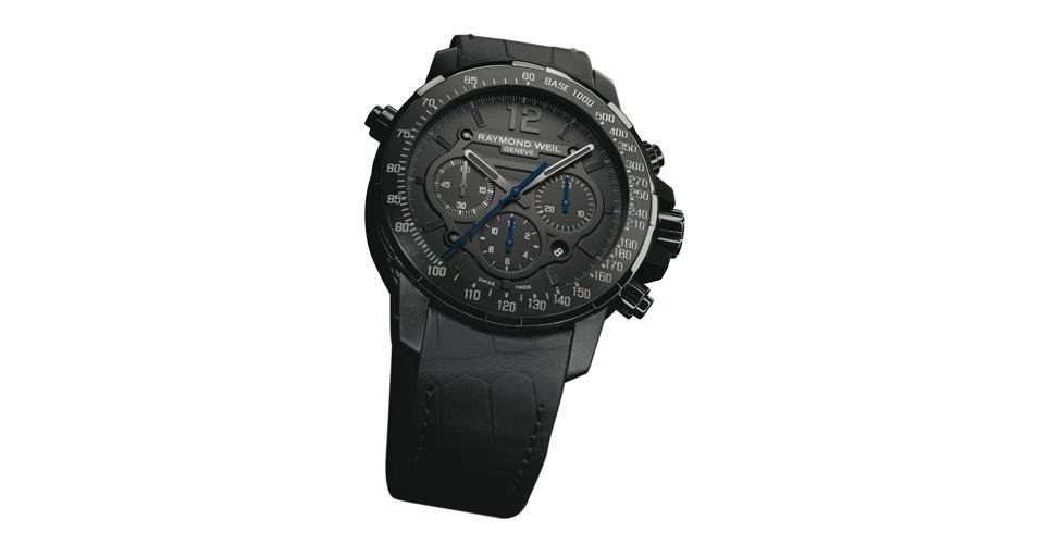 Relógio preto com pulseira de couro de crocodilo; R$ 14.300, na Raymond Weil (Tel.: 11 3549-3470). Preço pesquisado em agosto de 2012 e sujeito a alterações