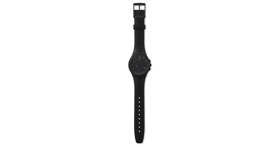 Relógio todo preto; R$ 400, na Swatch (www.swatch.com.br). Preço pesquisado em agosto de 2012 e sujeito a alterações