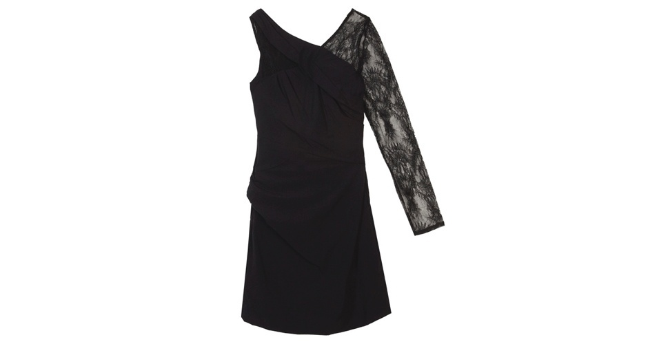 Vestido com manga única de renda; R$ 239,90, da Espaço Fashion, na Dafiti (www.dafiti.com.br). Preço pesquisado em agosto de 2012 e sujeito a alterações