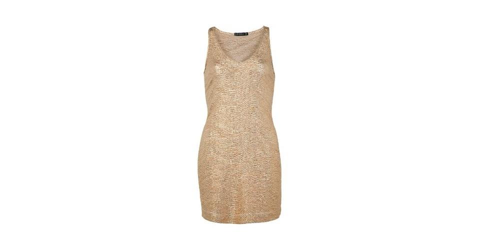 """Vestido dourado com decote em """"V""""; R$ 199,90, da Fiveblu, na Dafiti (www.dafiti.com.br). Preço pesquisado em agosto de 2012 e sujeito a alterações"""