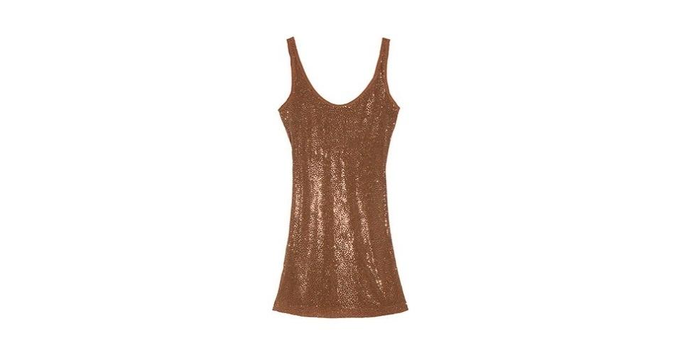 Vestido soltinho dourado; R$ 484, da Flower Power, na Oqvestir (www.oqvestir.com.br). Preço pesquisado em agosto de 2012 e sujeito a alterações