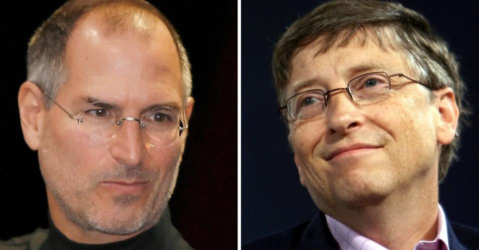 20.jun.2012 - A Apple, cofundada por Steve Jobs (esq.), morto em 2011, foi considerada durante um dia a companhia mais valiosa de todos os tempos. No entanto, os US$ 622 bilhões de valor de mercado, alcançados pela empresa, não consideraram a inflação. Com esse critério, a Microsoft mantém-se na liderança com a marca estabelecida em 1999. Na época, a empresa de Bill Gates (dir.) atingiu US$ 618,9 bilhões em valor de mercado. E, com a correção, esse valor atualmente seria de US$ 850 bilhões