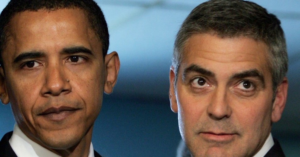 Barack Obama e George Clooney chegam ao National Press Club Newsmaker (27/4/2006)