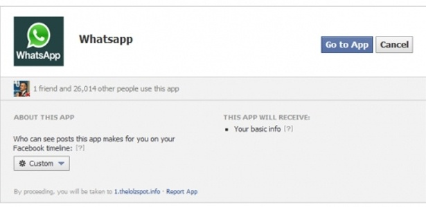 Página para o falso WhatsApp no Facebook é parecida com a de outros aplicativos na rede social
