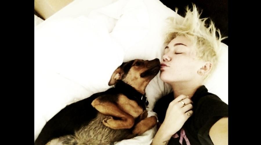 Miley Cyrus divulgou imagem onde aparece dando um beijo em seu cachorro (20/8/12)