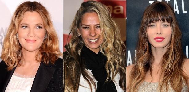 """Drew Barrymore, Adriane Galisteu e Jessica Biel exibem o cabelo cacheado estilo """"garota de praia"""""""