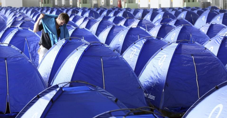21.agosto.2012 -- Acampamento para fãs de tecnologia Campus Party é realizado em Berlim, na Alemanha, de 20 a 26 de agosto
