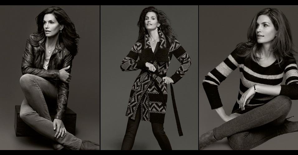 Aos 46 anos de idade, Cindy Crawford, famosa modelo norte-americana dos anos 1990, estrela a campanha da coleção que fez em parceria com a C&A. A linha será vendida a partir do dia 27 de agosto apenas nas lojas europeias da rede e não deve chegar ao Brasil