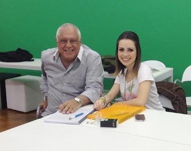 Antônio Fagundes e Sandy durante primeira leitura do roteiro do filme
